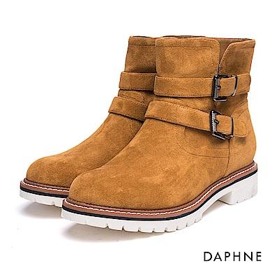 達芙妮DAPHNE 短靴-皮帶雙釦絨布厚底運動風短靴-棕