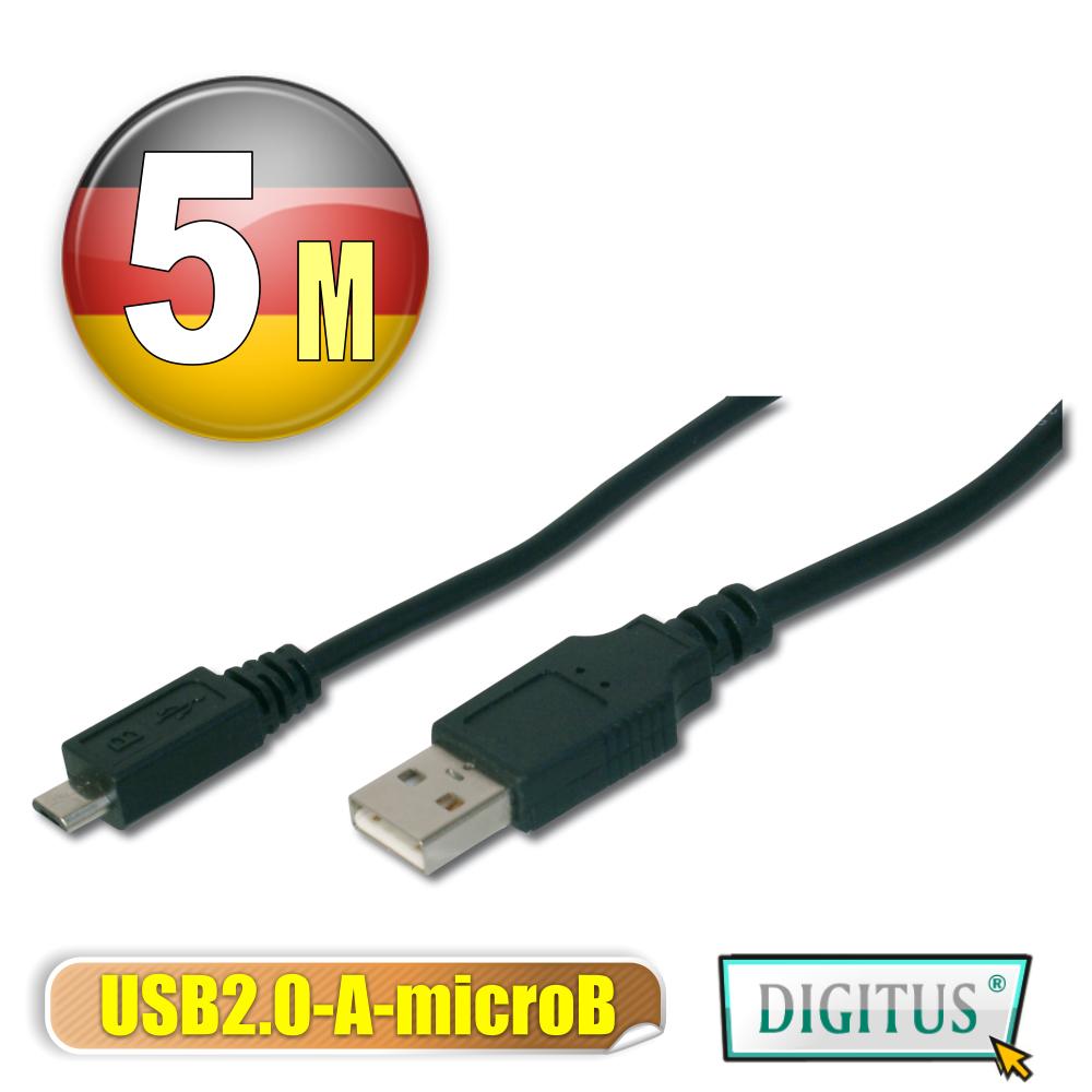 曜兆DIGITUS USB2.0轉micro USB2.0*5公尺傳輸線