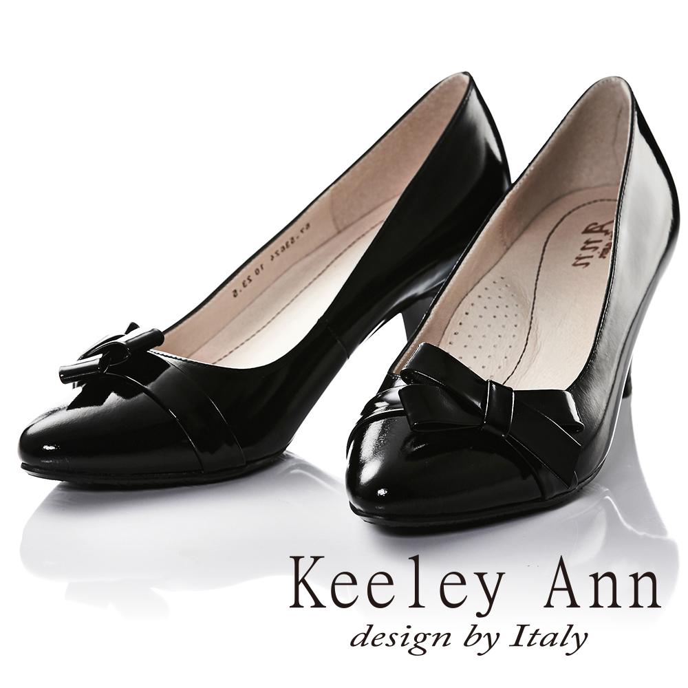 Keeley Ann年代風華簡約蝴蝶結OL全真皮中跟鞋(黑色)
