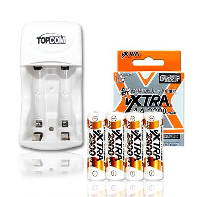 VXTRA 3號2300mAh低自放充電電池(4顆入)+TOP智能雙迴充電器