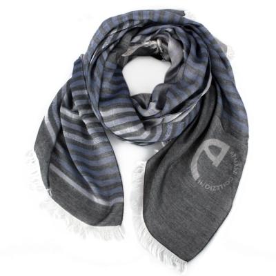 ARMANI COLLEZIONI 經典LOGO雙色條紋圍巾-灰/藍