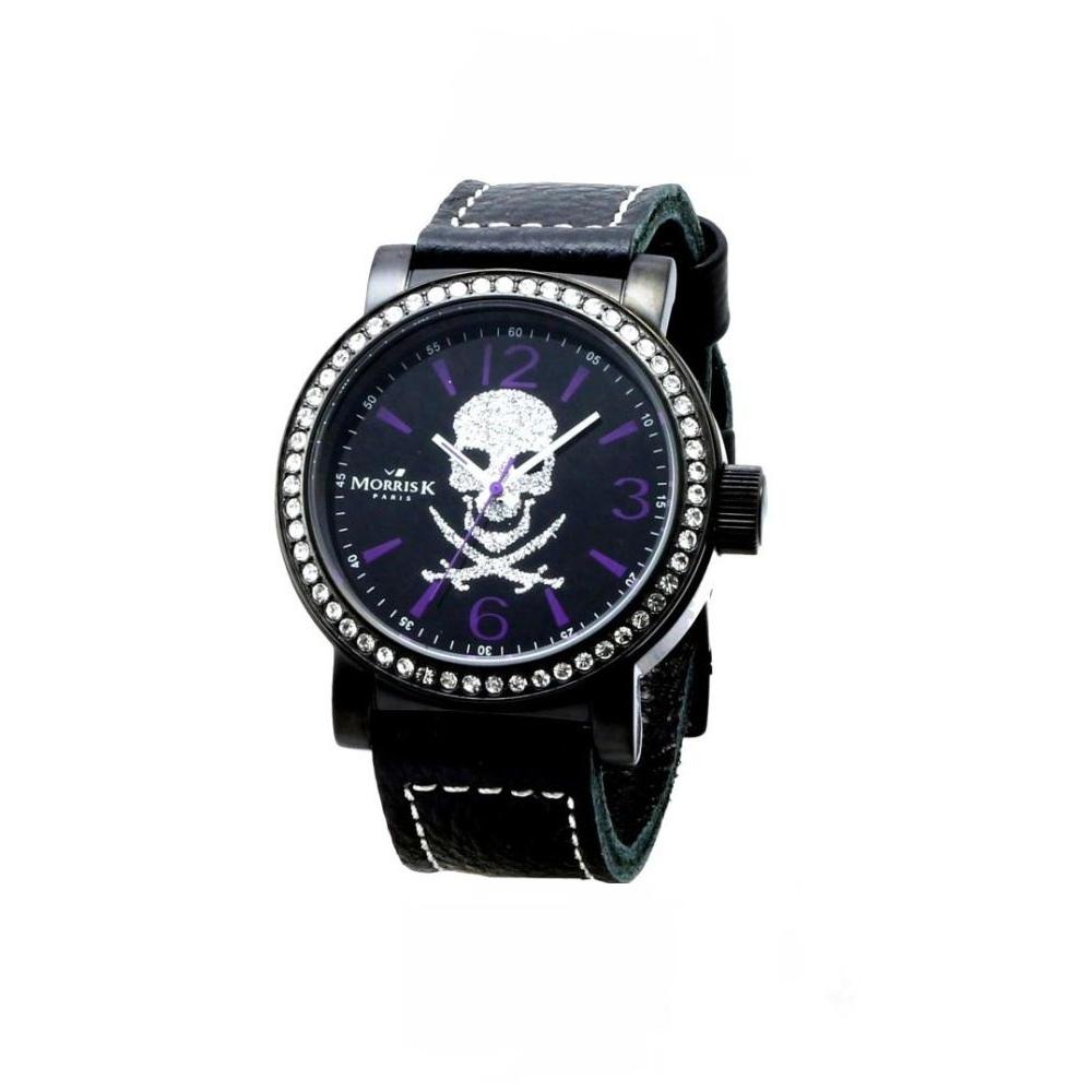 MORRIS K 晶鑽骷髏潮流腕錶-黑紫/45mm