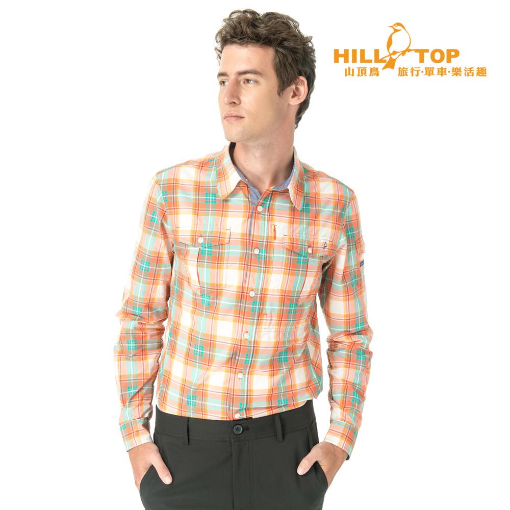 【hilltop山頂鳥】男款吸濕排汗抗UV長袖襯衫S05M59橘綠格
