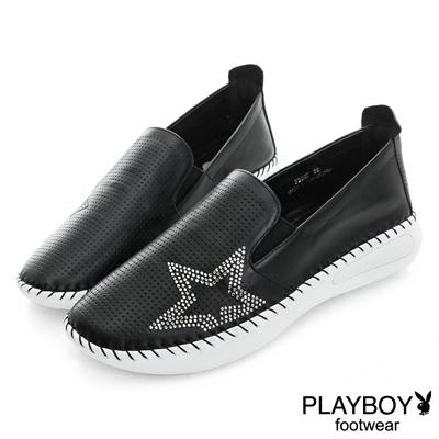 PLAYBOY 燦爛星空 星鑽真皮休閒樂福鞋-黑(女)