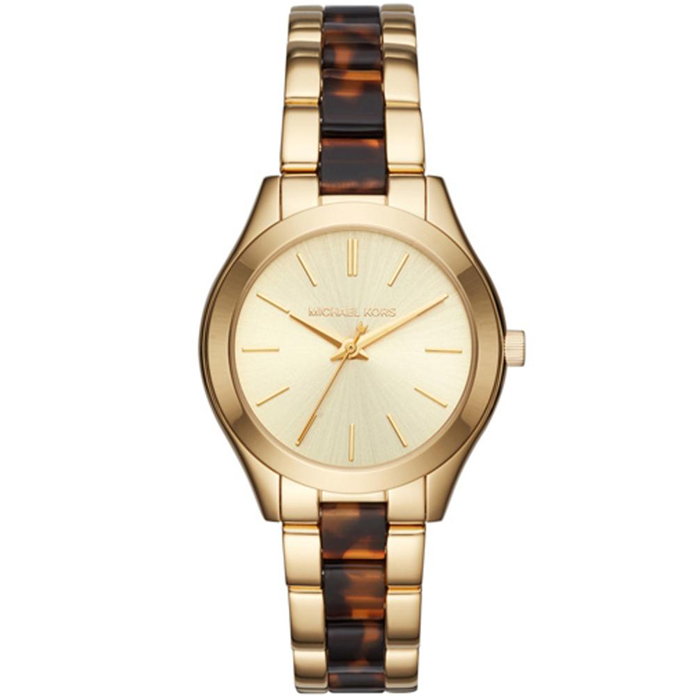 MICHAEL KORS 華麗質感琥珀色時尚手錶-金/33mm