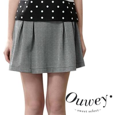 OUWEY歐薇-經典千鳥紋拼接壓摺褲裙