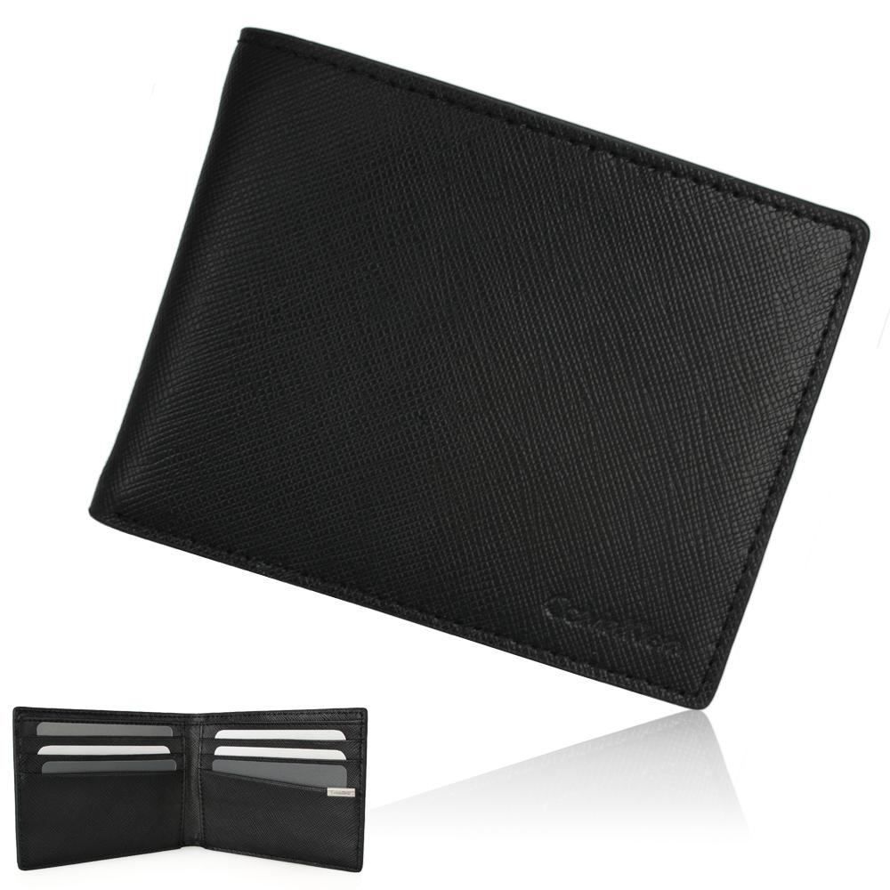 Calvin Klein 防刮皮革多卡短夾鑰匙圈禮盒-黑色