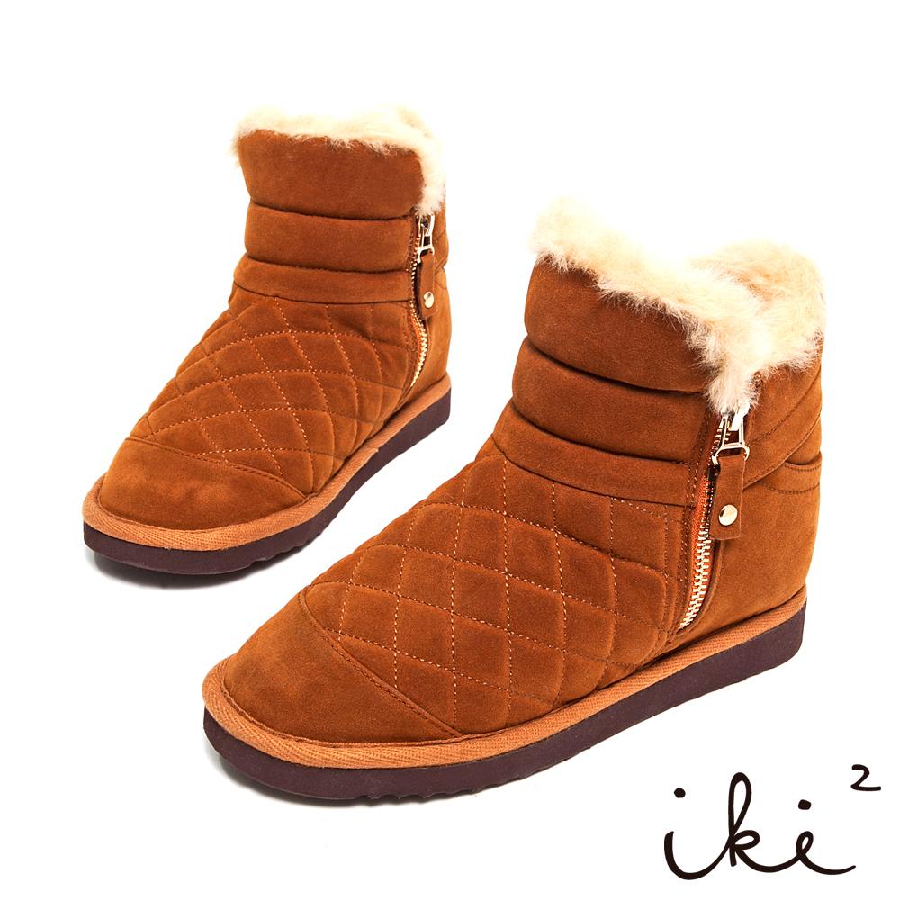 iki2冬戀序曲-時尚菱格紋側拉鍊內增高雪靴-焦糖咖