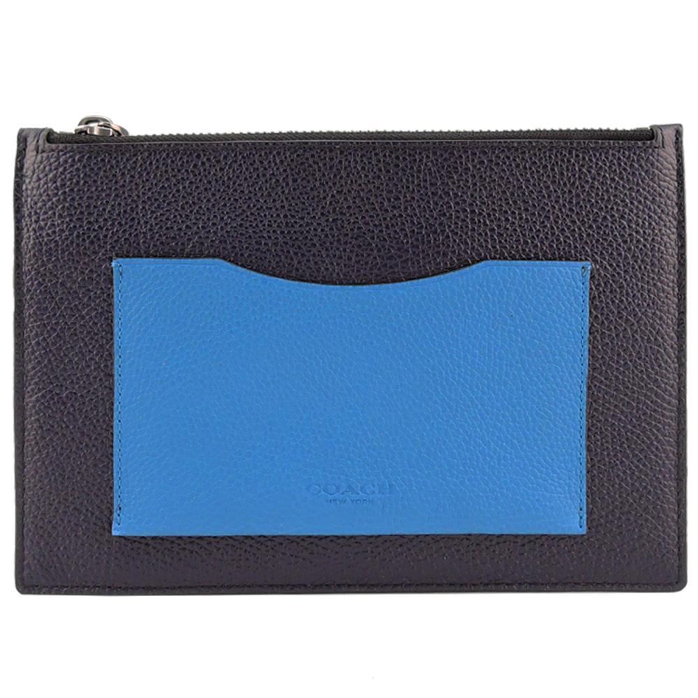 COACH 鵝卵石顆粒皮革撞色平板電腦套(深藍/水藍)