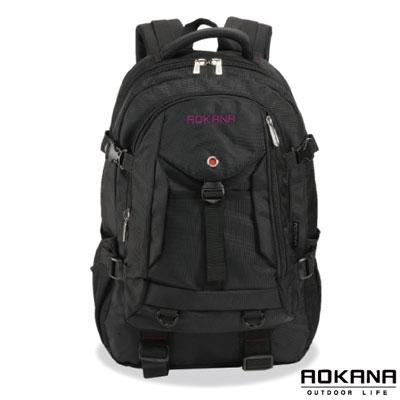 AOKANA奧卡納 台灣釦具 輕量防潑水護脊紓壓機能後背包(紫/黑)68-072
