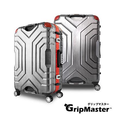 日本GRIPMASTER  27吋 黑拉絲(紅框)  王者霸氣 雙把手硬殼鋁框行李箱