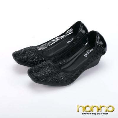 nonno-閃耀小黑鑽-縷空楔型娃娃鞋-黑