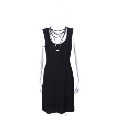 MOSCHINO 黑色珠鍊綴飾設計無袖洋裝