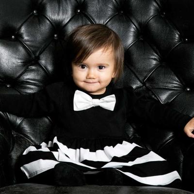 The Tiny Universe 瑞典 黑白條紋可拆式蝴蝶結長袖派對洋裝