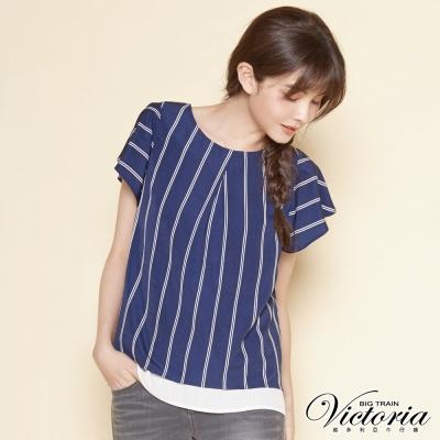 Victoria 直條荷葉波浪短袖T-女-藍底白條