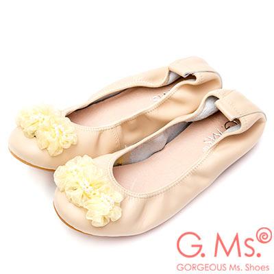 G.Ms. 手串珍珠網紗牛皮彎折娃娃鞋-杏色