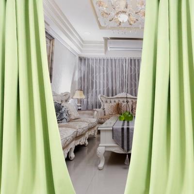 布安於室-簡約素色綠穿管式單層遮光窗簾-落地窗(寬270X高210cm)