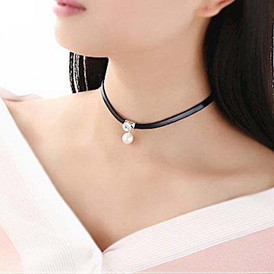 Hera 赫拉 日韓版時尚甜美珍珠鋯石皮繩鎖骨項鍊