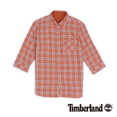 Timberland 女款焦橙色格紋兩穿七分袖襯衫