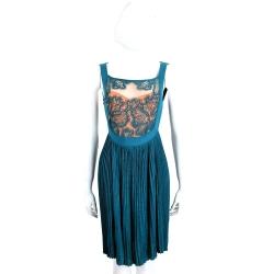 Maria Grazia Severi 藍綠色百摺拼接織花無袖洋裝