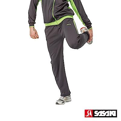 SASAKI 吸濕排汗功能針織運動長褲-男-深灰/果綠