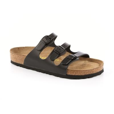 勃肯BIRKENSTOCK 154471。佛羅里達 三條復古拖鞋(黑)