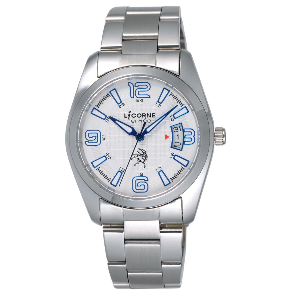 LICORNE entree 時之轉換點日期腕錶-藍(LT083BWWA-N2)/38mm