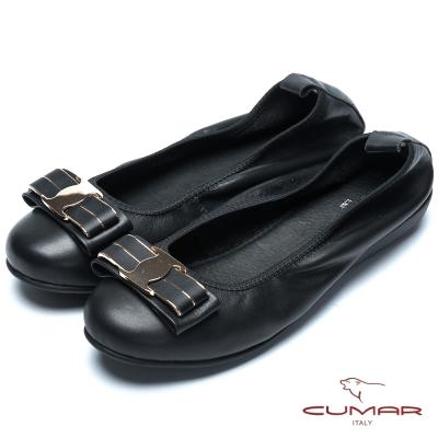 CUMAR流行時尚 金屬蝴蝶結真皮芭蕾舞鞋-黑