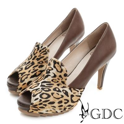 GDC-牛皮拼接真皮魚口高跟鞋-咖啡豹紋