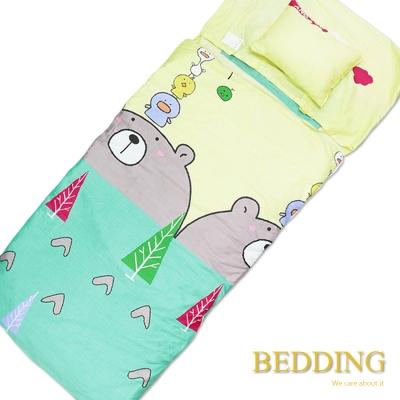 BEDDING 小青春-黃 100%棉多功能冬夏兩用鋪棉兒童睡袋