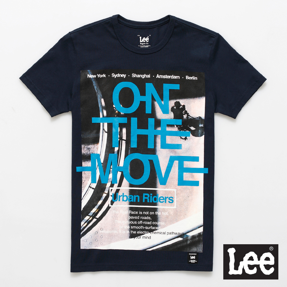 Lee 短袖T恤 單車圖案藍色文字印刷-男款(深藍色)