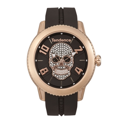 Tendence 天勢錶 圓弧系列骷髏頭款-黑玫瑰金/45mm