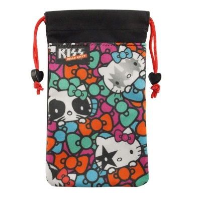 KISS HELLO KITTY 4.7吋通用搖滾彩繪蝴蝶結雙層收納束口袋
