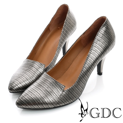 GDC都會-鱷魚紋拼接尖頭真皮中跟鞋-槍灰色