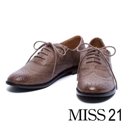 平底鞋 MISS 21 經典英倫羊皮紳士牛津鞋-灰