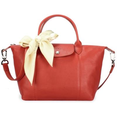 Longchamp Le Pliage Cuir小羊皮短把折疊小型水餃包-磚紅色(贈帕巾)