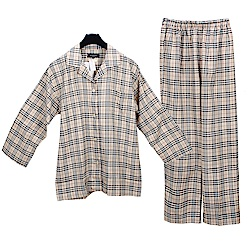 BURBERRY經典格紋純棉休閒家居服套組-淺駝色