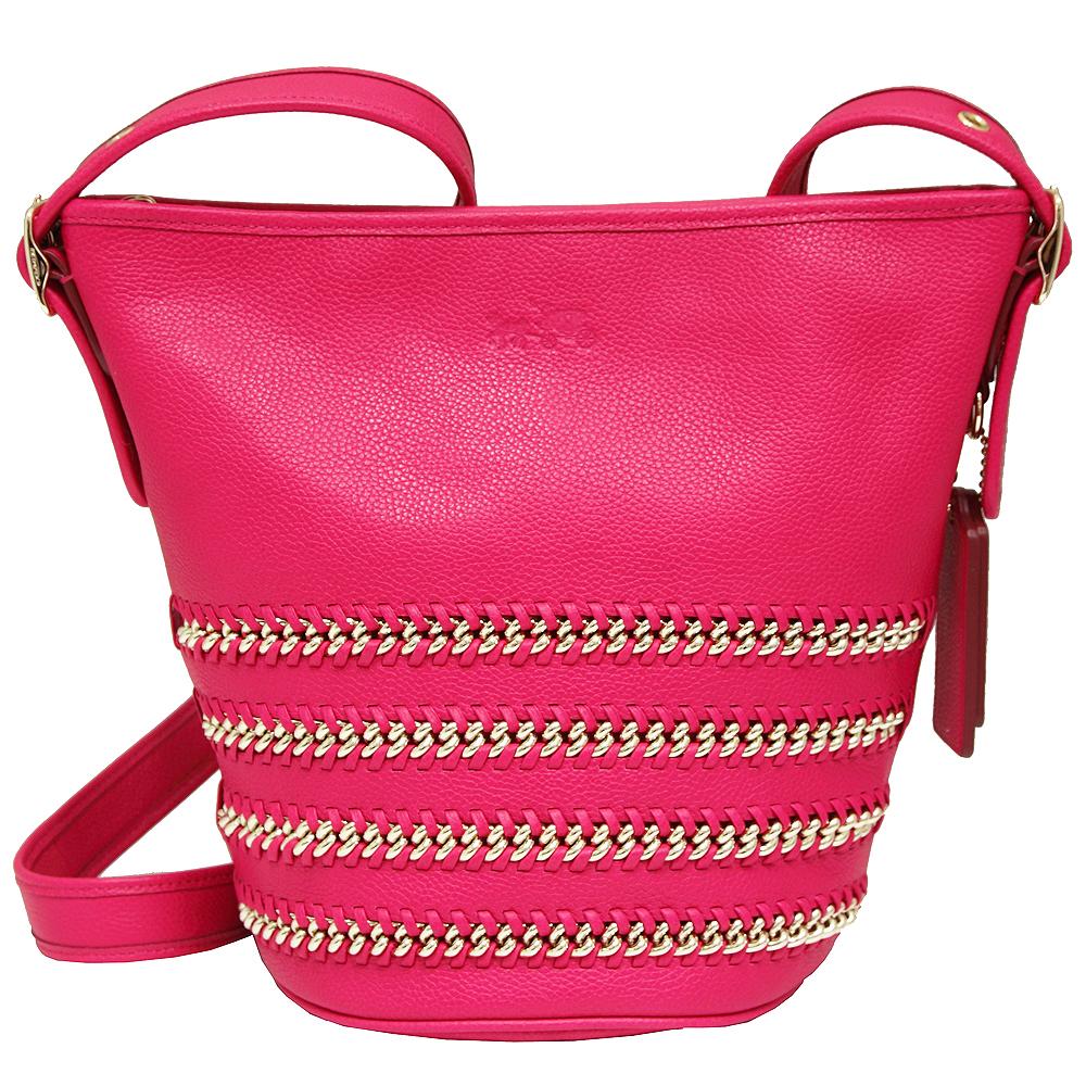 COACH DUFFLE 系列鍊條編織皮革斜背水桶包-桃紅COACH