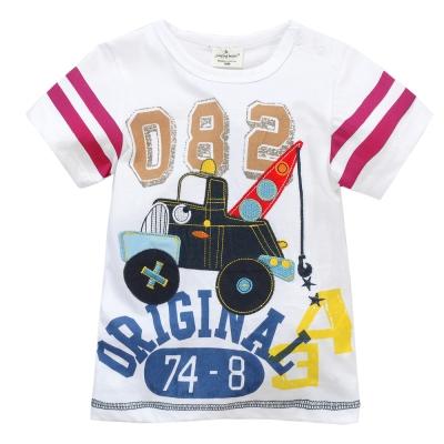 歐美風格設計 小童男童短棉T居家外出 工程機 白色