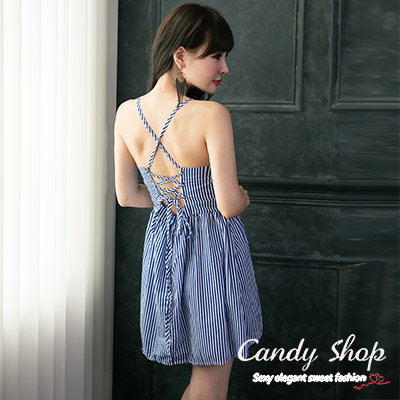 Candy小舖-春裝甜美性感綁帶伸縮美背線條設計短洋裝-藍色