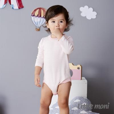 Little moni 純棉家居系列條紋長袖包屁衣 淺珊瑚