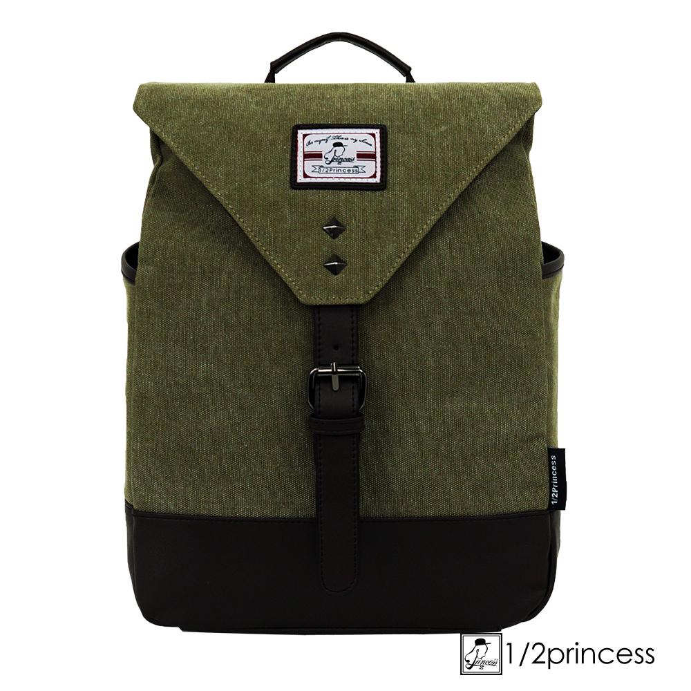 1/2princess水洗帆布中型鉚釘胸包後背包 斜背包 軍綠色 [A2683](快)
