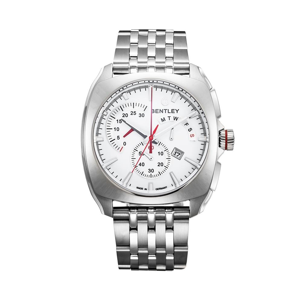 BENTLEY 賓利 Solstice系列 黑暗紳士計時手錶-白x銀/45mm