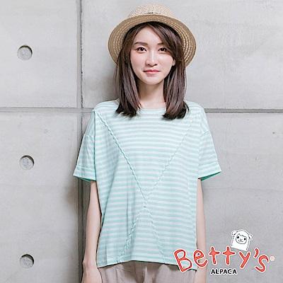 betty's貝蒂思 條紋圓領寬鬆上衣(淺綠)