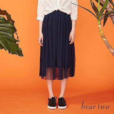 beartwo 網路獨家-點點雙層細摺優雅紗裙(二色)