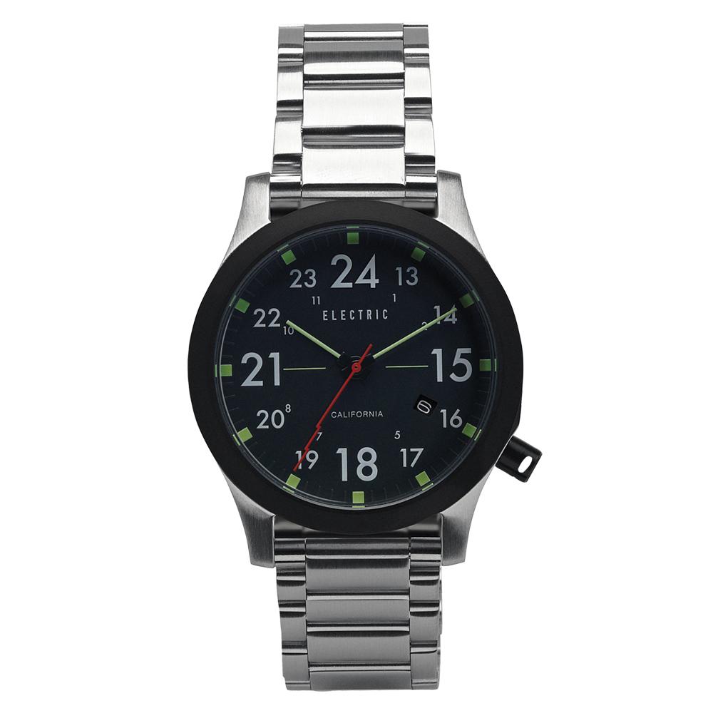 ELECTRIC FW01系列-摩登雅痞風潮腕錶-黑面x銀鋼帶/40mm
