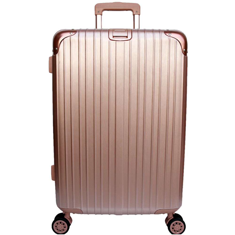 YC Eason 麗致20吋PC髮絲紋可加大海關鎖行李箱 玫瑰金