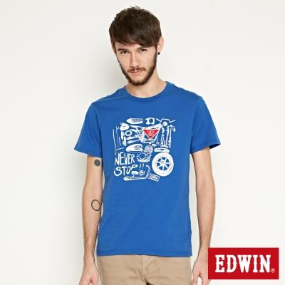 EDWIN MOTO零件印花短袖T恤-男-藍色