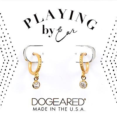 Dogeared 經典圓鑽耳環 垂墜式耳環 金色小圓耳環 細緻百搭