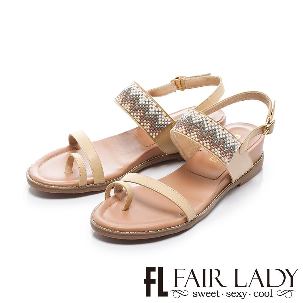Fair Lady 幾何圖形串珠裝飾穿趾增高涼鞋 黃